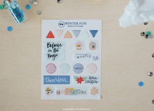 WINTER FUN- 3D sticker set - shapes